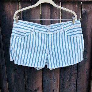 Levi's Juniors Striped Frayed Jean Shorts